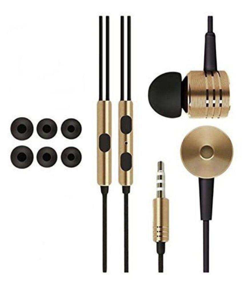 YGS Basic Piston Design Earphone Handsfree For Xiaomi Mi Max -Golden with Extra 3 Pairs of Earbud