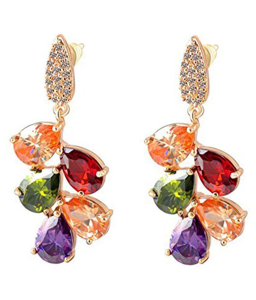 Jewels Galaxy Luxuria 18K Rose Gold Plated AAA Swiss Cubic Zirconia Dangle & Drop Earrings For Women
