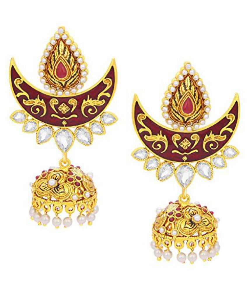 Sukkhi Enchanting Chandbali Jhumki Gold Plated AD Earring For Women