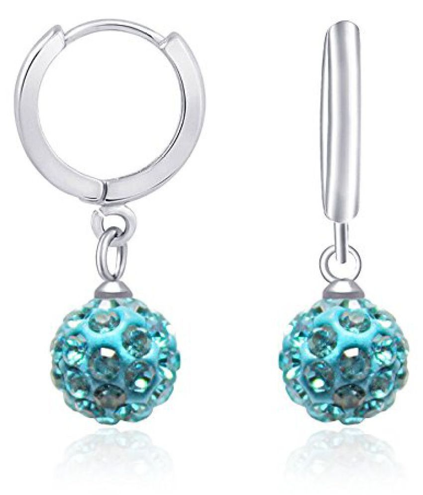 VK Jewels sky blue Rhodium Plated Bali Earring for Women - BALI1011R [VKBALI1011R]
