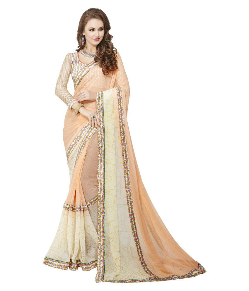 Leewodeal White and Beige Georgette Saree