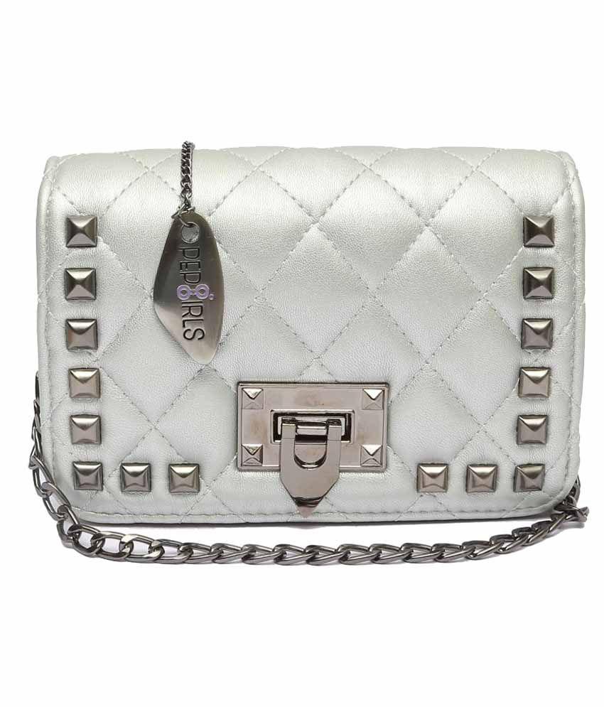 Pep Girls Silver P.U. Sling Bag