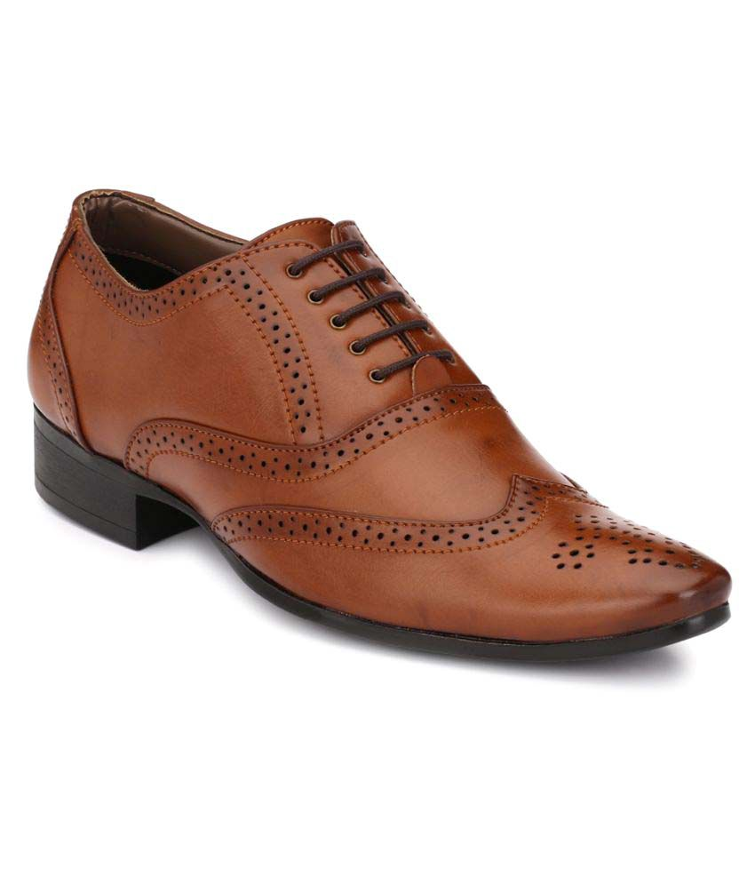 Mactree Brown Brogue Artificial Leather Formal Shoes