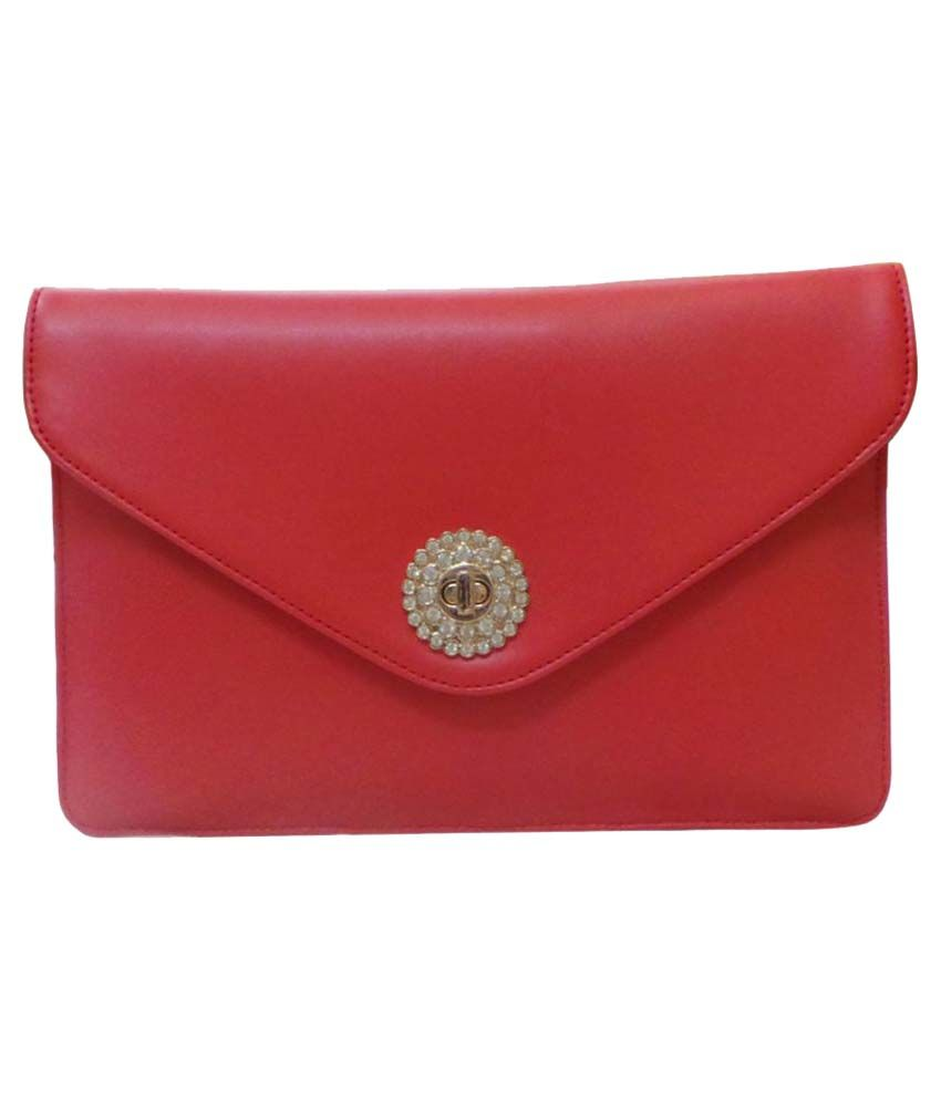 Bhamini Red Faux Leather Box Clutch
