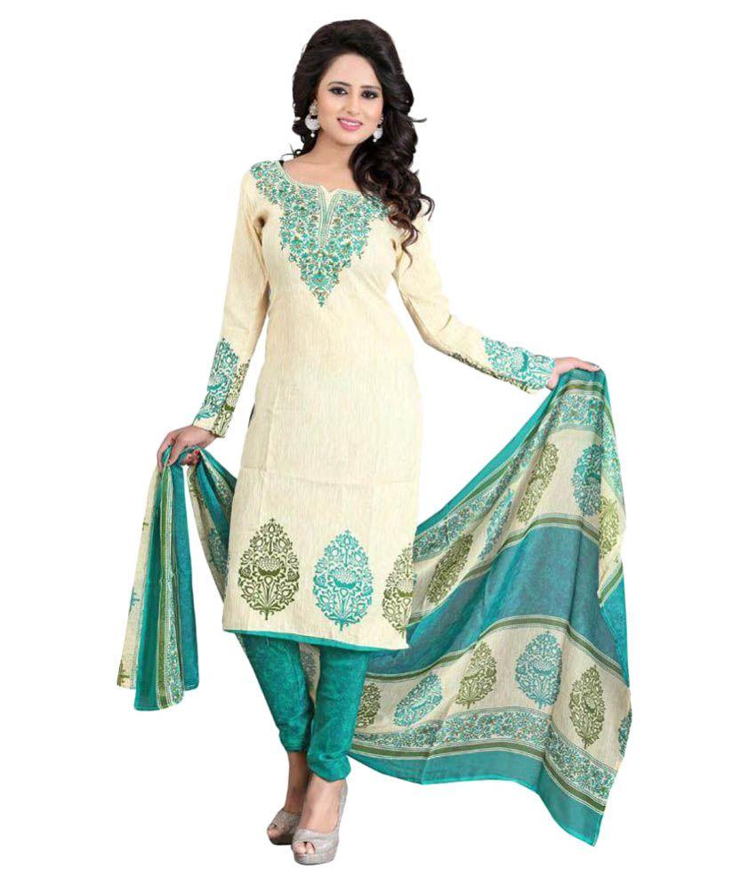Hi-Fashion Beige Cotton Silk Dress Material