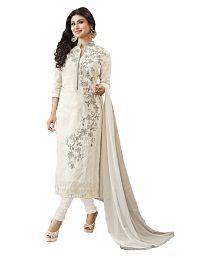 Manvaa White Cotton Blend Dress Material