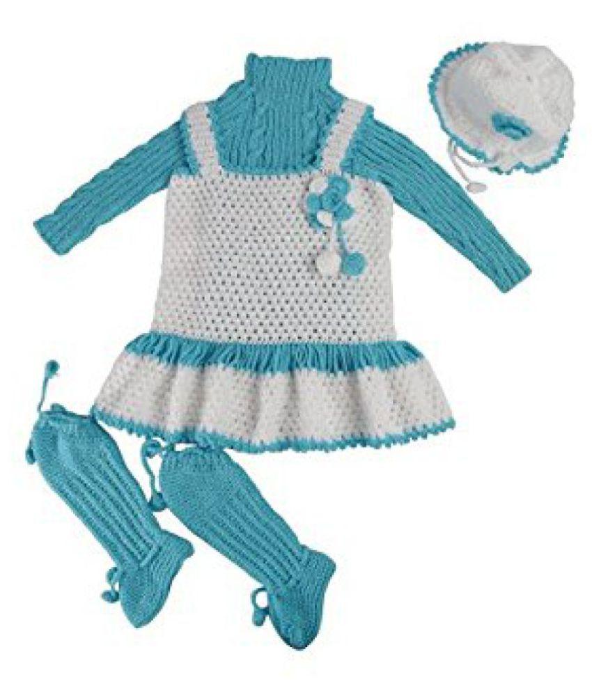 870aaf902 Kuchipoo Baby Girls Hand Knitted Crochet Woolen Frock (KUC-MNC ...