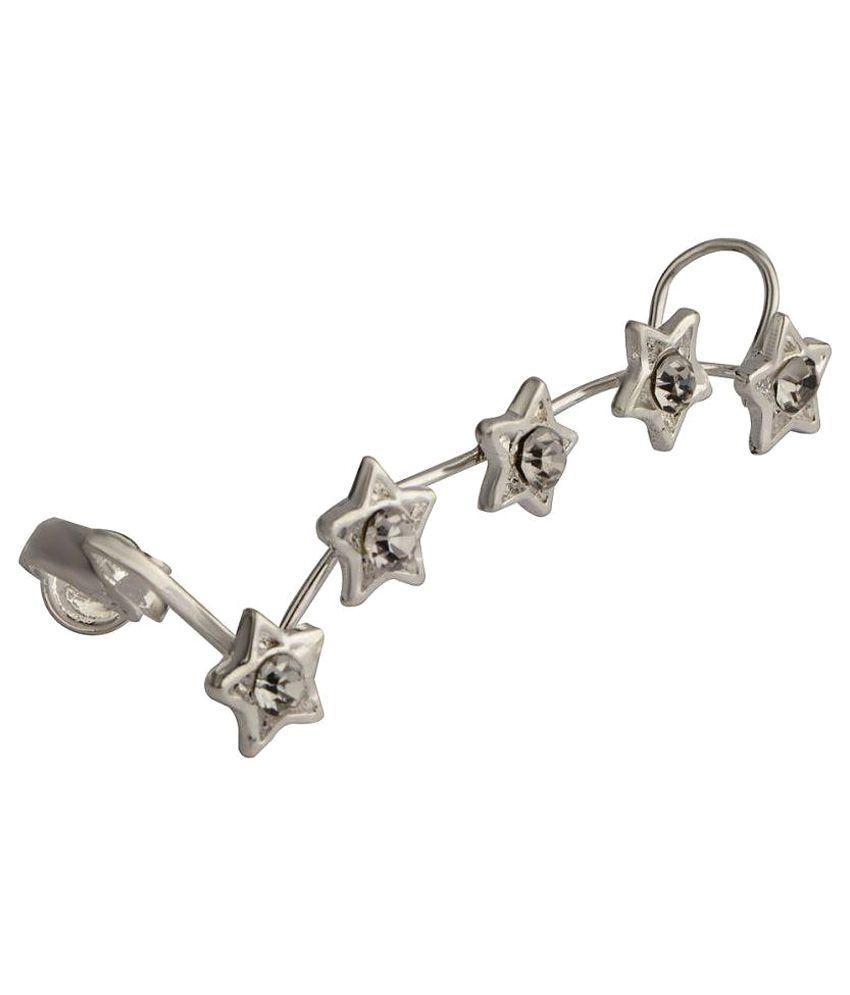 Stripes Silver Alloy Ear Cuffs