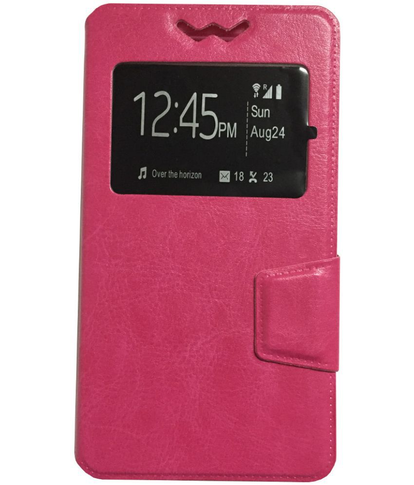 Lava X3 Flip Cover by Lomoza - Pink