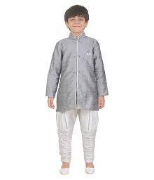 Jeet Grey Silk Boys Kurta Pyjama Set