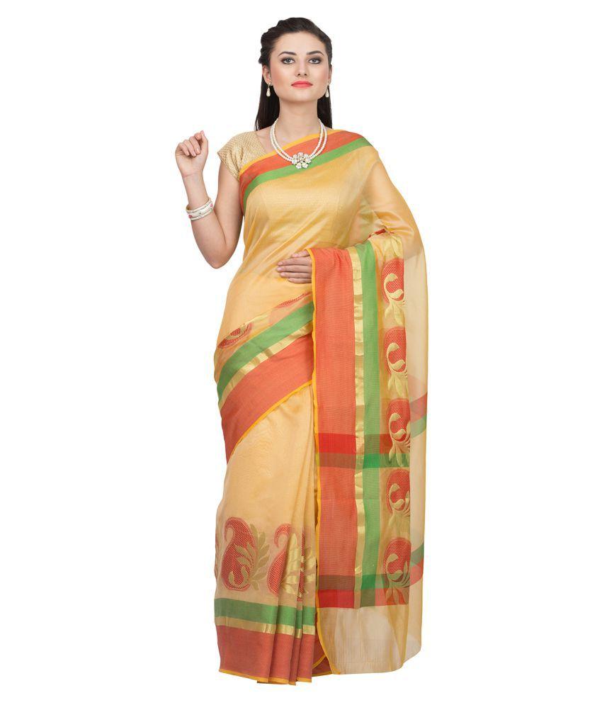 Coolethnic Beige Banarasi Silk Saree