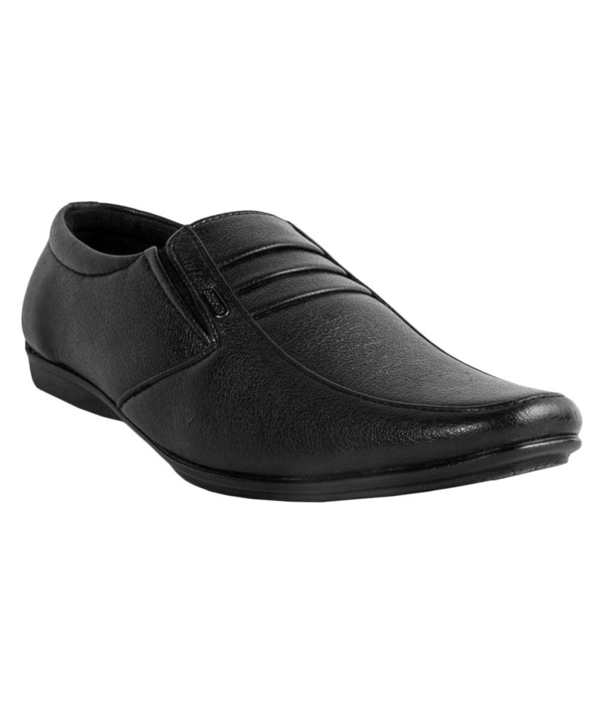 Kopps Black Office Artificial Leather Formal Shoes