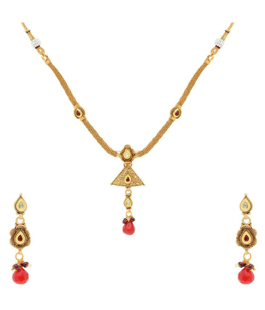 Jewellerkaka Delicate Mesh Necklace Set With Ruby Drop