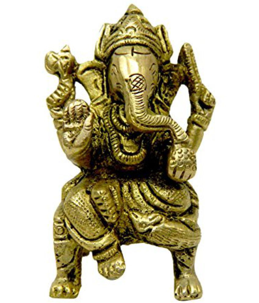 Brass Metal Ganesh Seated on Bajath Medium in Size in Decorative art by Bharat Haat  BH02632