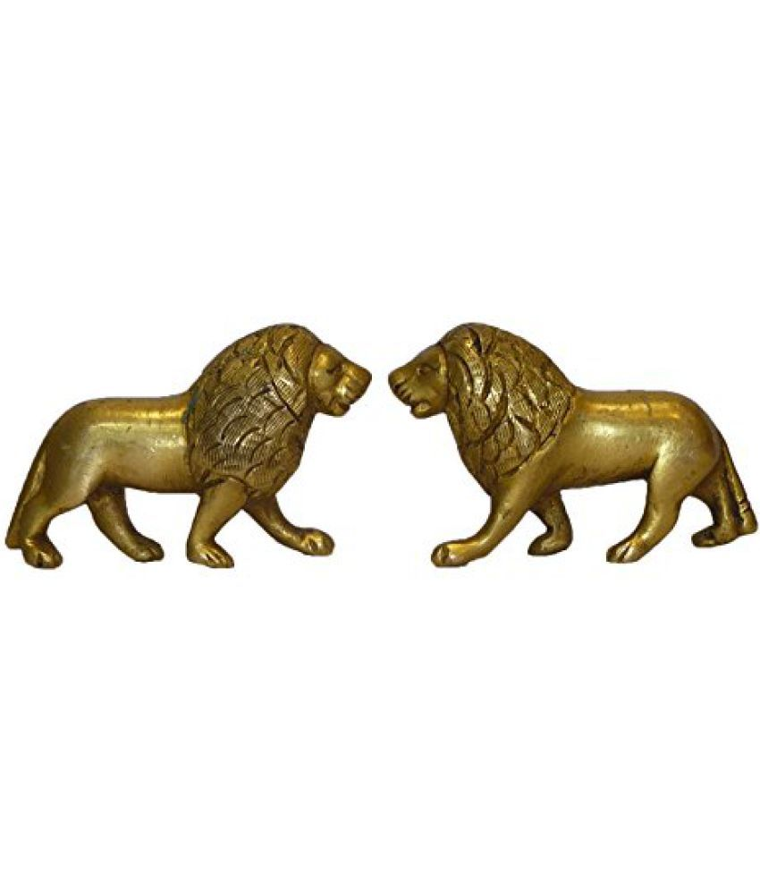 Brass Metal Lion Standing Pair Statue by Bharat Haat  BH01587
