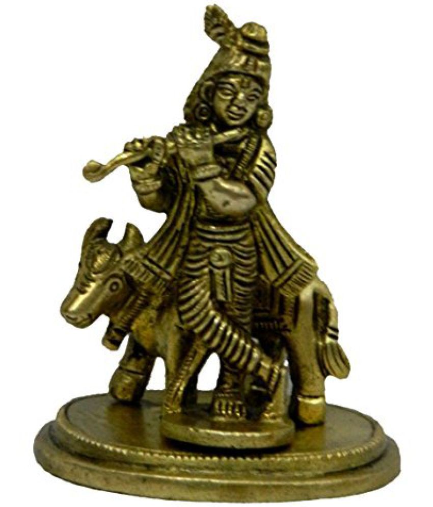Pure Brass Metal Krishna With Cow in Fine Finishing and Decorative art by Bharat Haat  BH04241