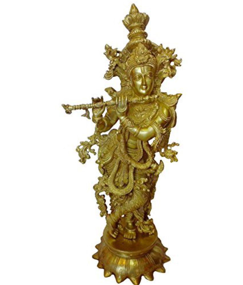 in Brass Metal Hindu Handicraft Lord Krishna Statue in Fine Finish Bharat Haat  BH00222