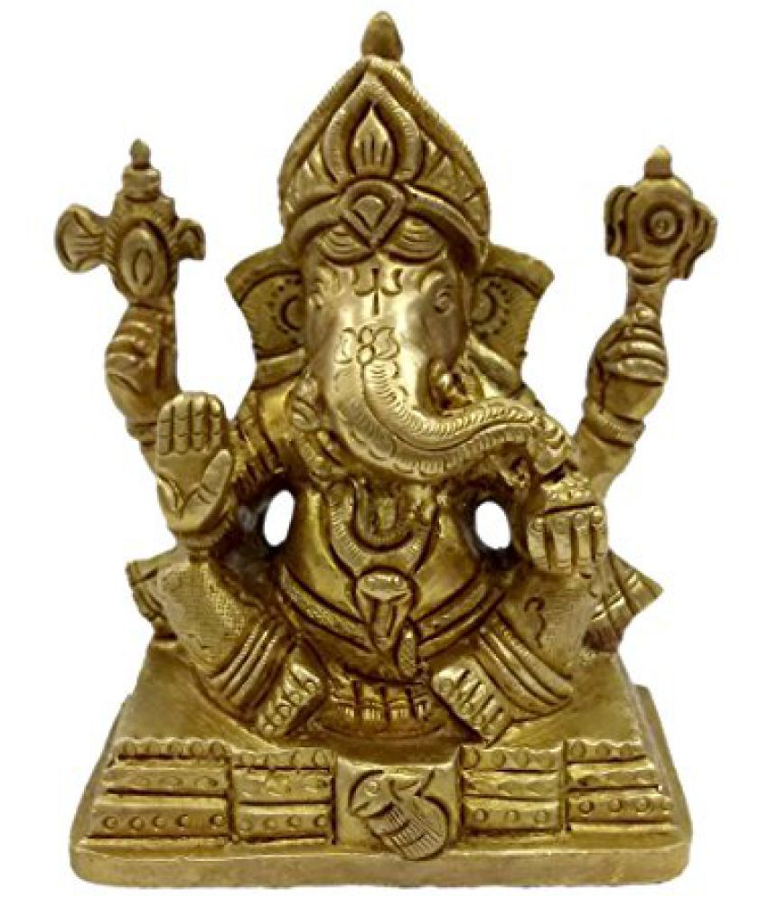 Pure Brass Metal Ganesh Sitting in Fine Finishing work and Decorative Statue by Bharat Haat  BH04668