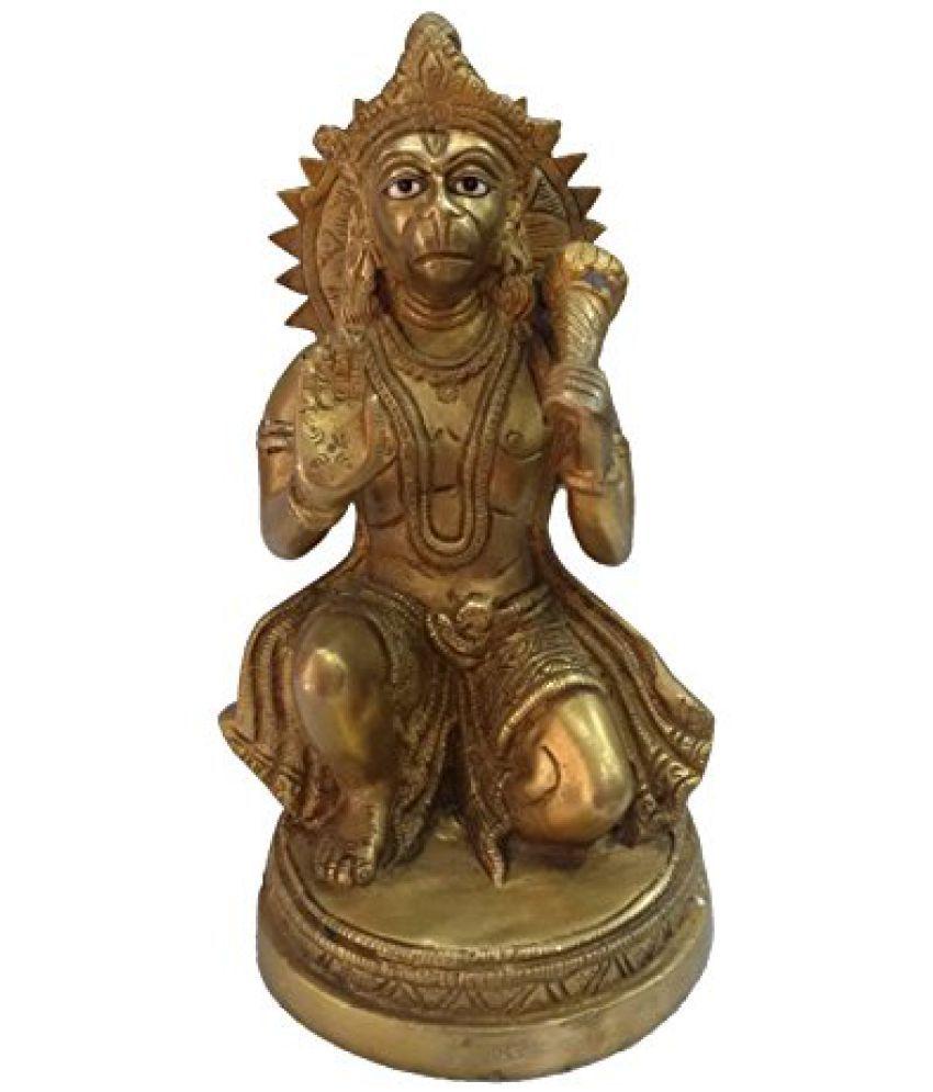 Pure Brass Metal Hanuman Sitting in Decorative