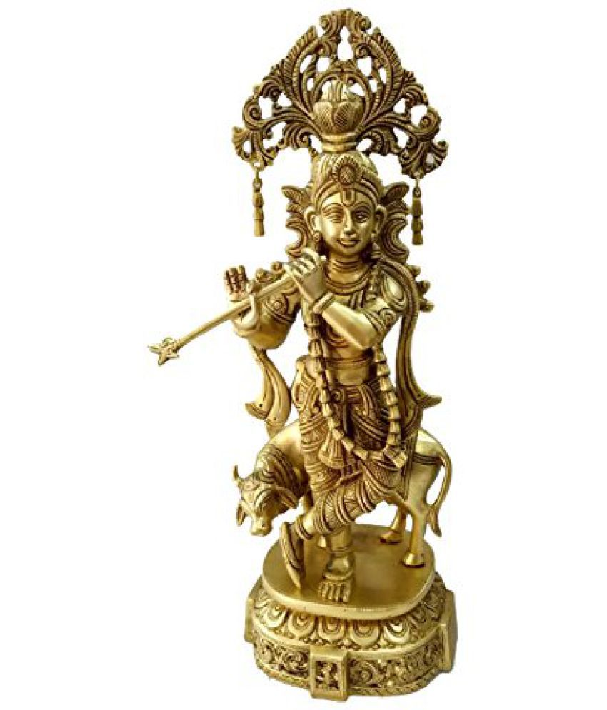 Pure Brass Metal cow Krishna in Decorative Statue by Bharat Haat  BH04646
