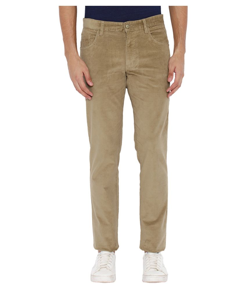 Parx Beige Regular Flat Trousers