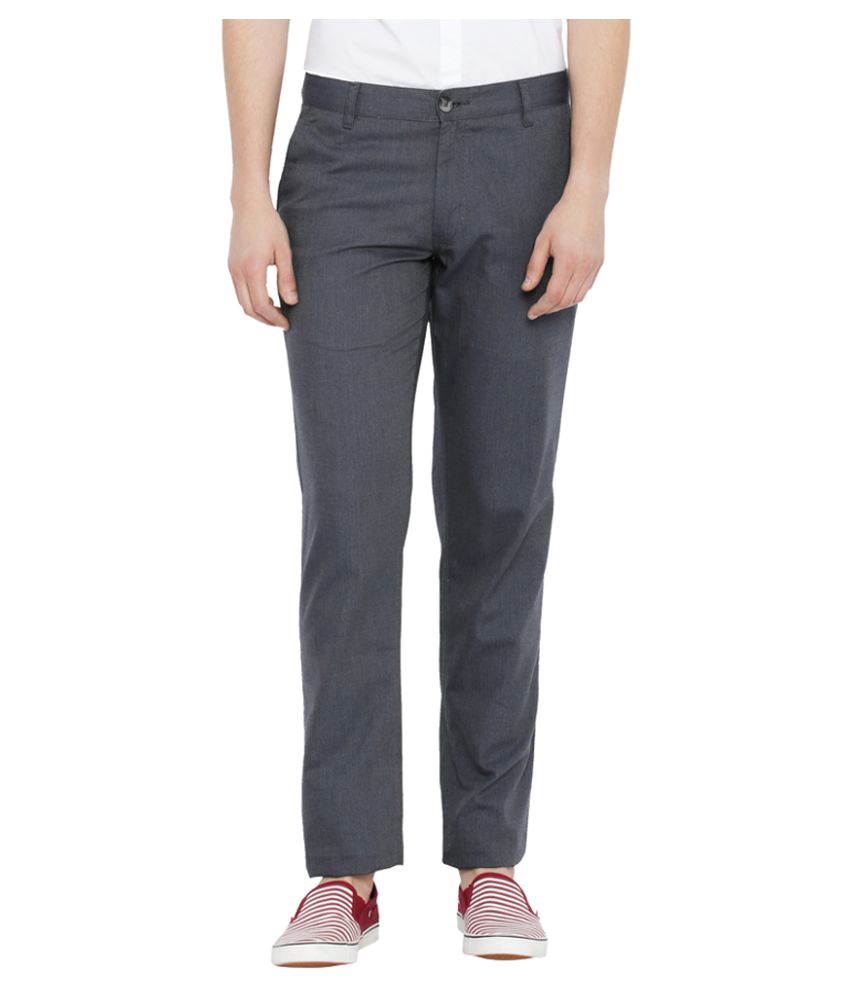 Parx Grey Slim Flat Trousers