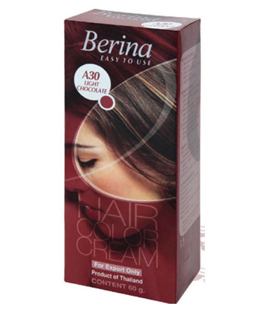 BERINA HAIR CCOLOR CREAM A30 LIGHT CHOCOLATE Permanent Hair Color Deep Chestnut 60 gm