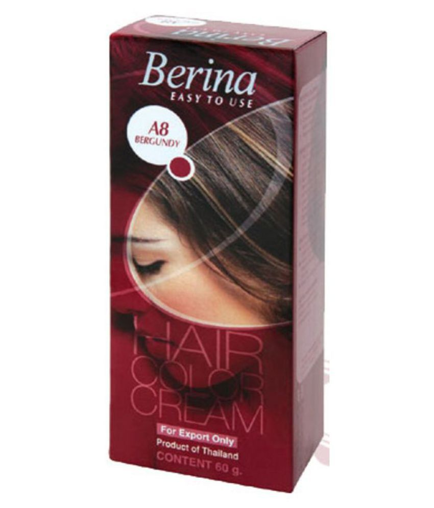 Berina HAIR COLOR CREAM A8 BERGUNDY Permanent Hair Color Burgundy 60 g