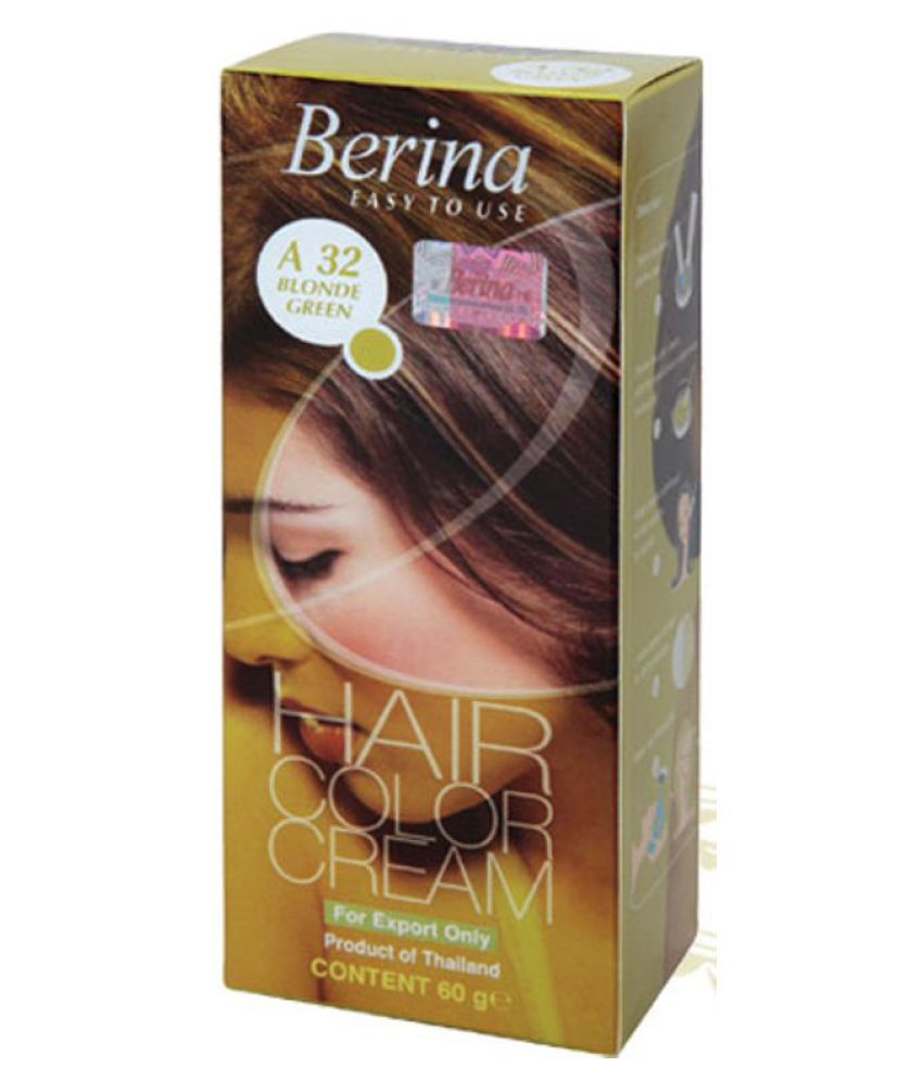 BERINA HAIR CCOLOR CREAM A32 BLONDE GREEN Permanent Hair Color Light Blonde 60 gm