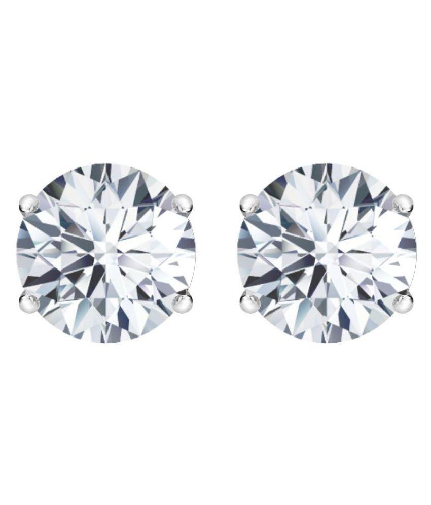 Diyaan 92.5 Silver Diamond Studs
