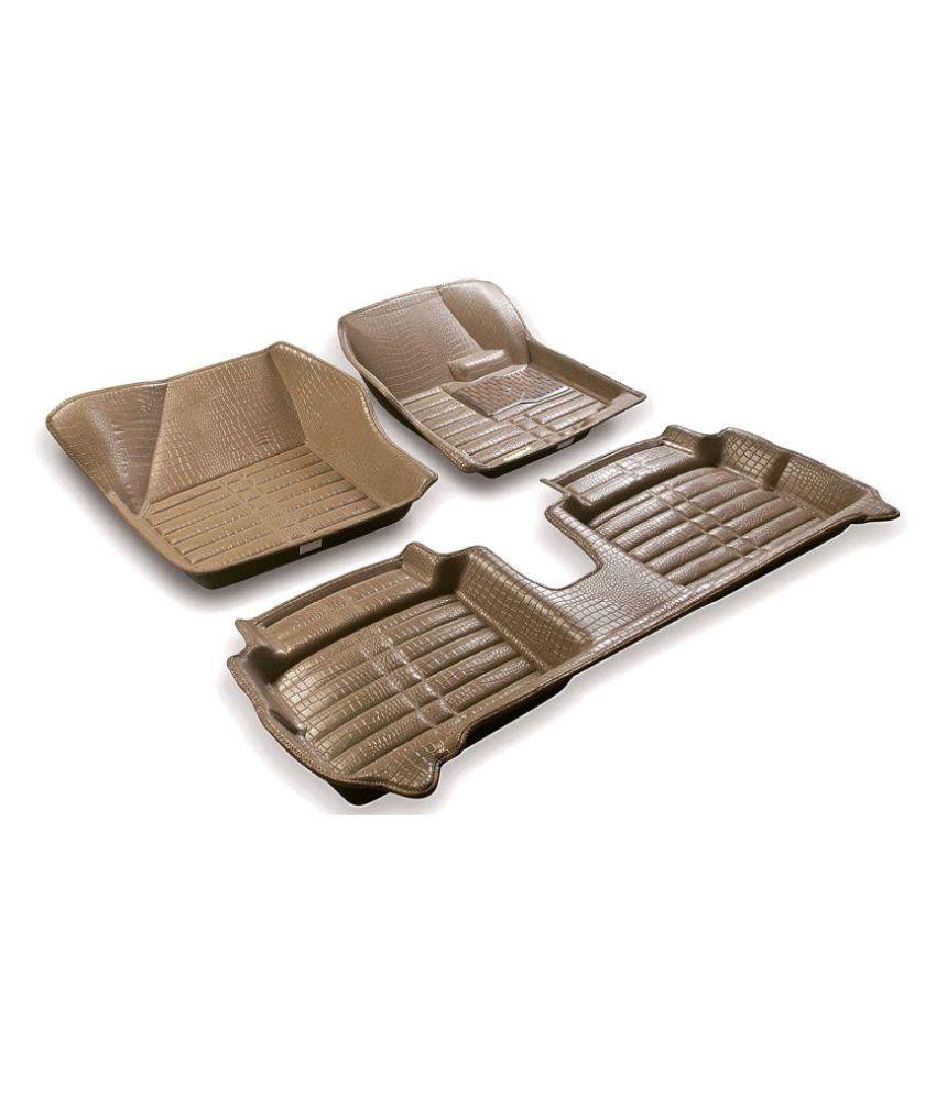 Coozo 5D Leatherite Car Foot Mats Set of 3 Beige