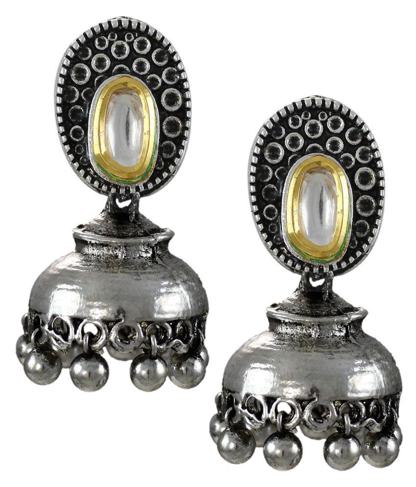 Zaveri Pearls Designer Oxidized Jhumki Earrings