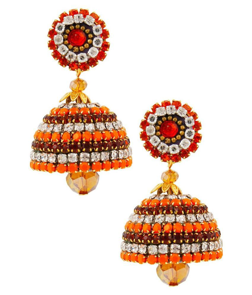 Designer Multicolor Handcrafted Artifcial Diamond Chain Jhumka