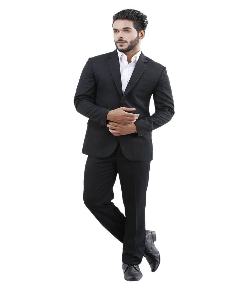 La Mode Black Solid Formal Suit