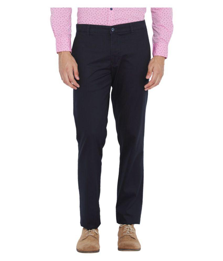 Parx Blue Regular Flat Trousers