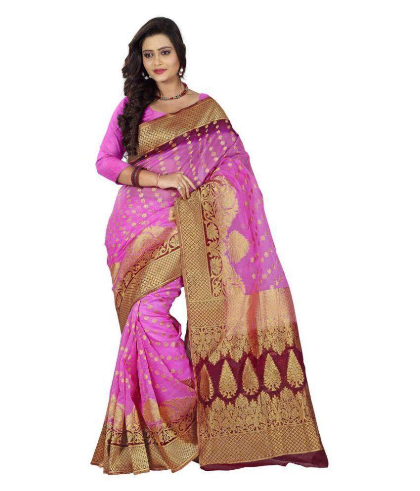 Shree Sareekadesigner Hub Pink Banarasi Silk Saree