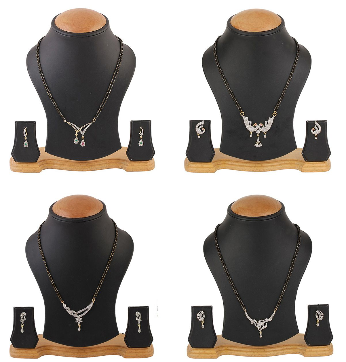 YouBella Alloy White American Diamonds Mangalsutra Set - Combo Of 4