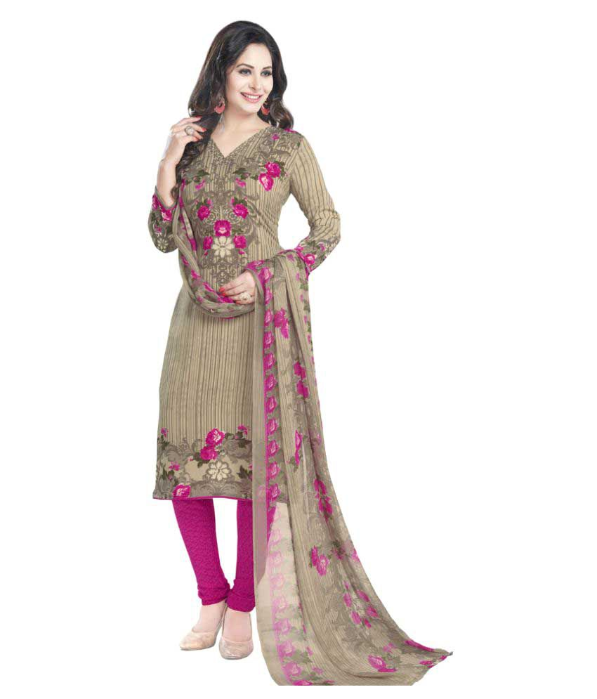 Varsha Collection Grey and Beige Chiffon Dress Material