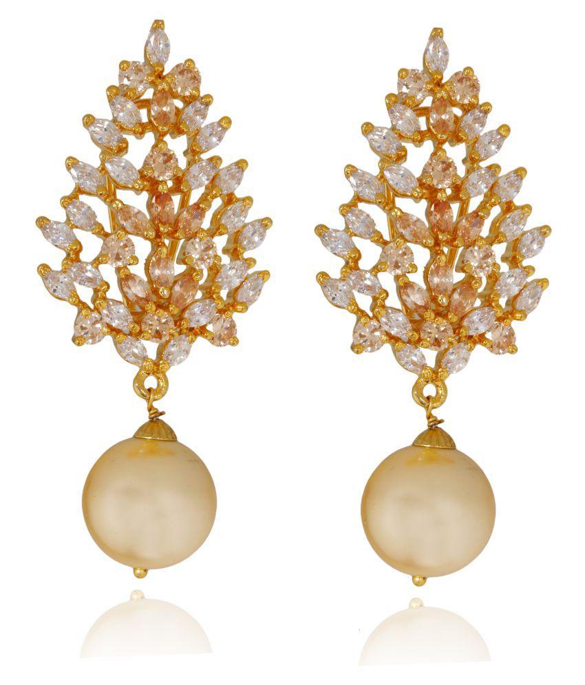 HB Arsya Jewellery Multicolour Topaz Brass Earrings for Women