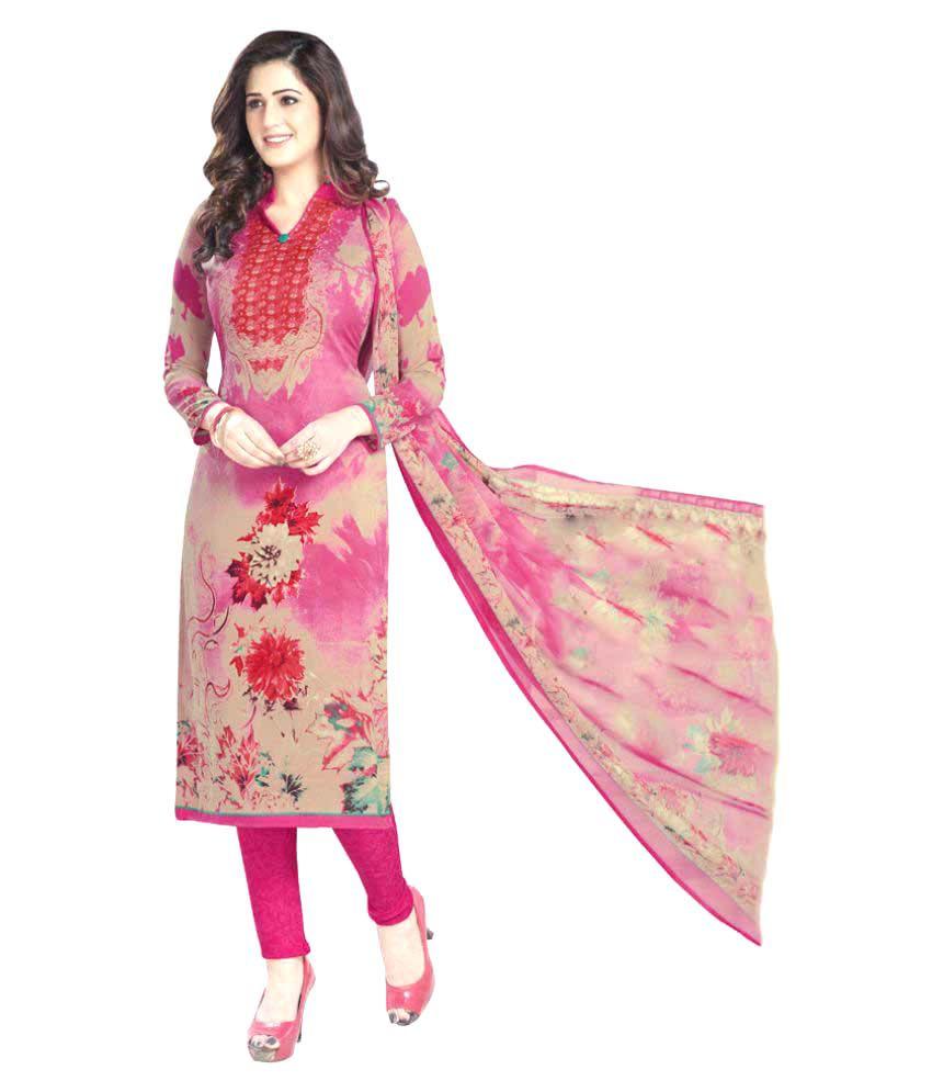 Varsha Collection Multicoloured Chiffon Dress Material