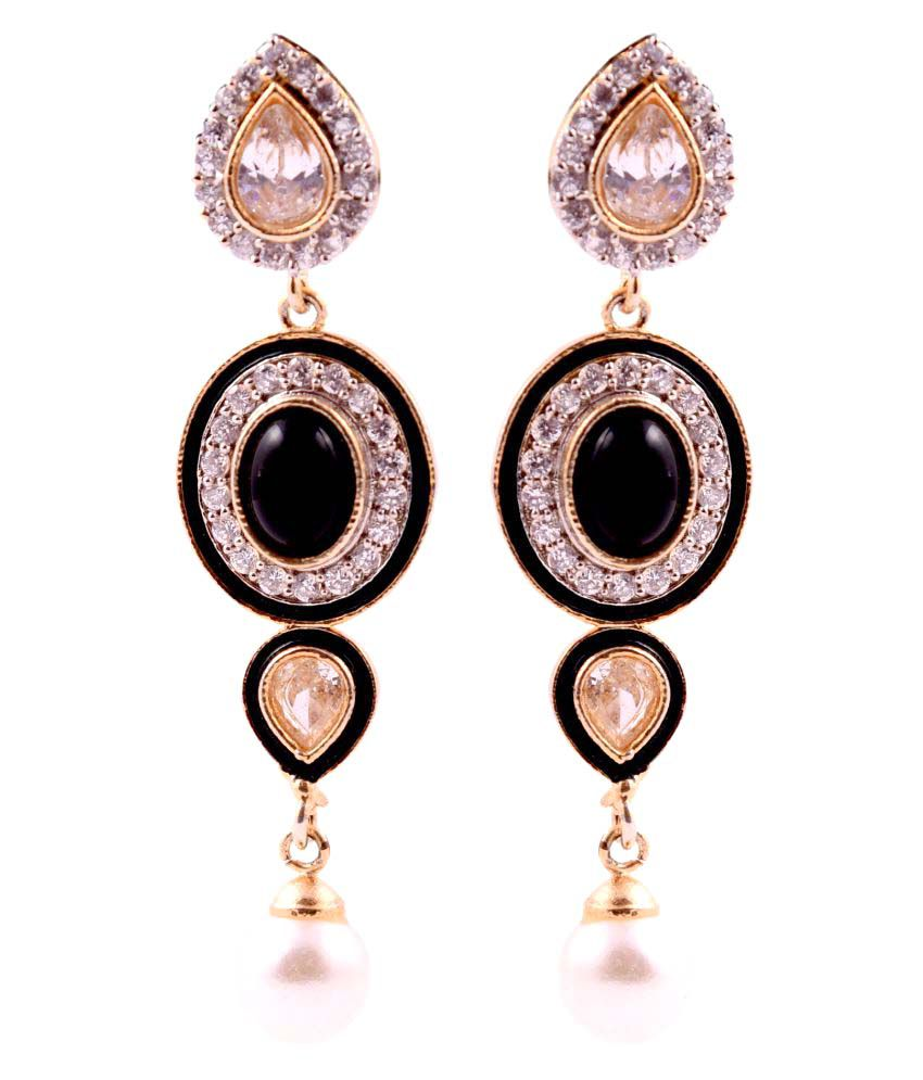BLS Real Black Brass Hanging Earrings For Women (BLS223)