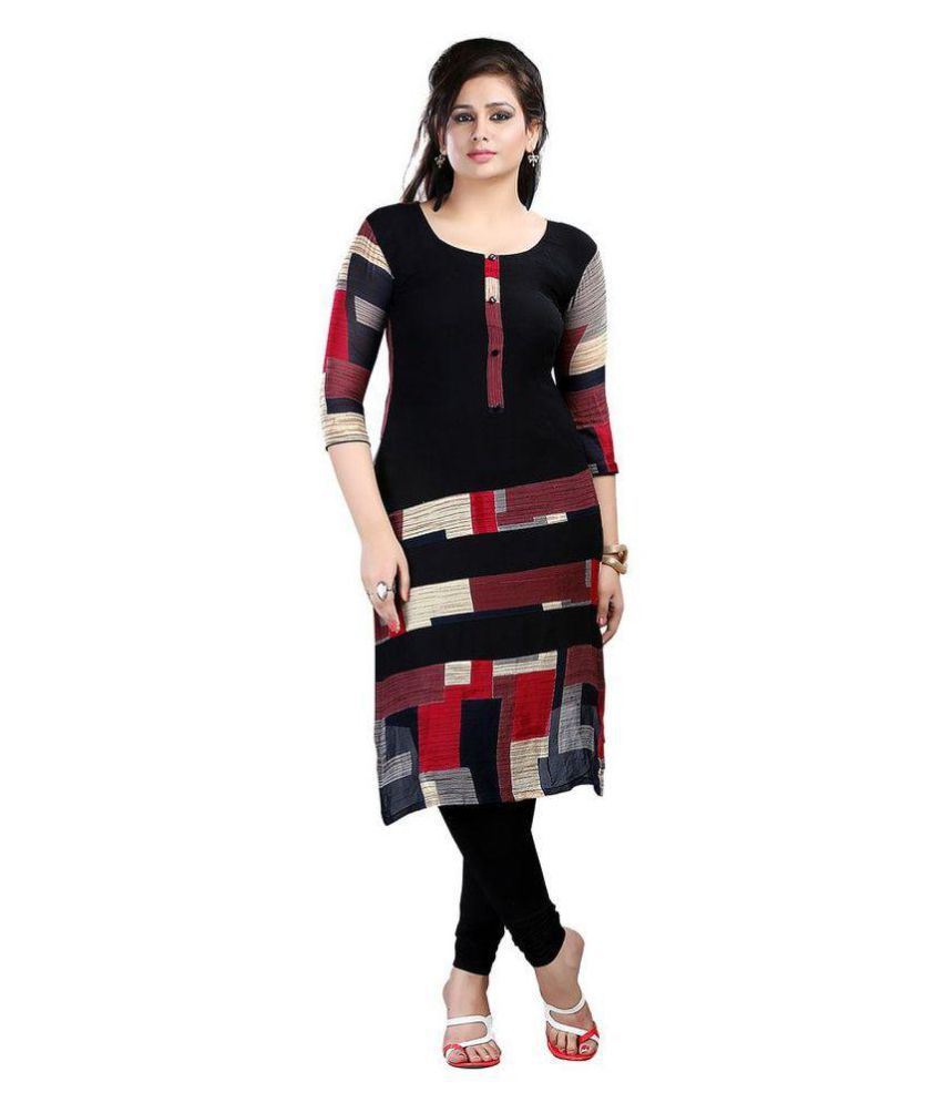Glamocharms Multicoloured Crepe Straight Kurti