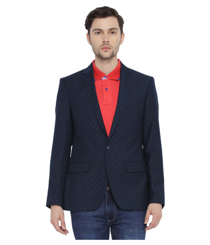 Parx Blue Printed Casual Blazers
