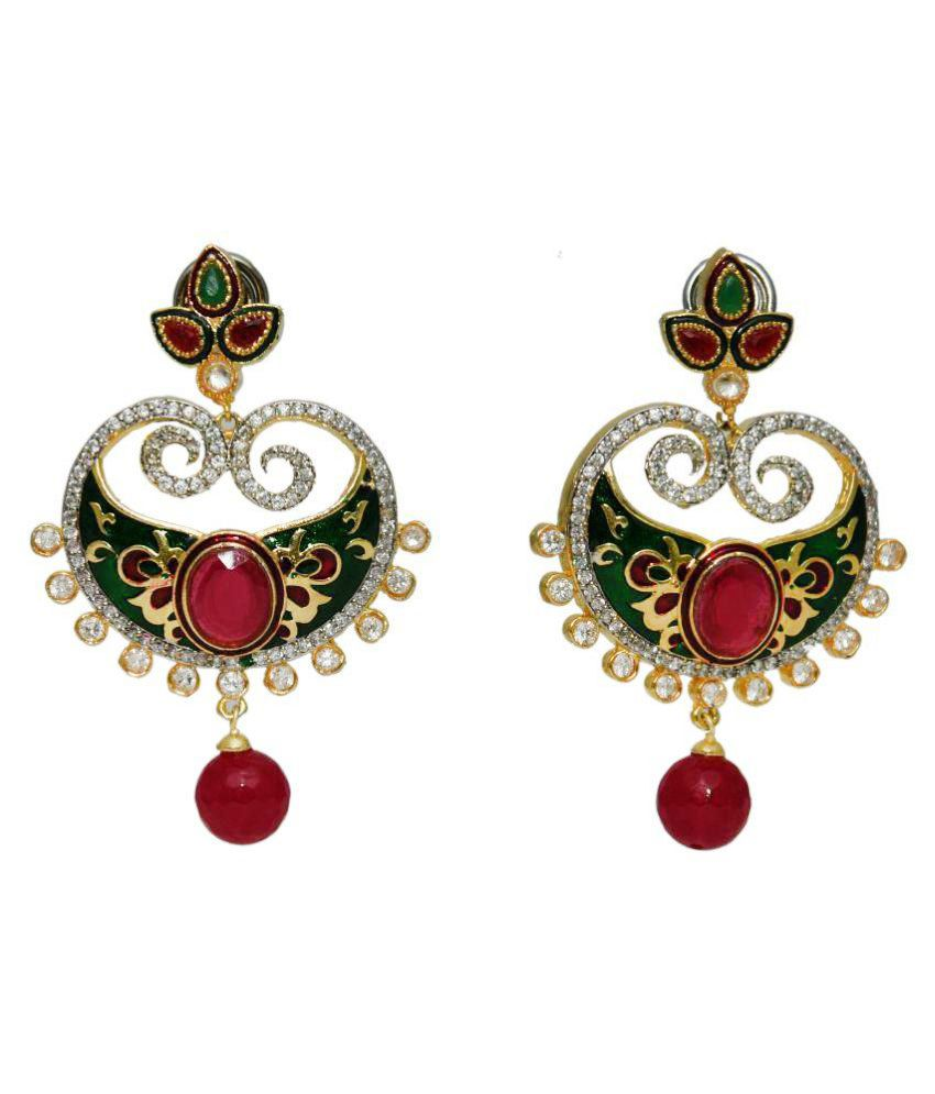 Bls Real Multicolour Brass Earrings for Women
