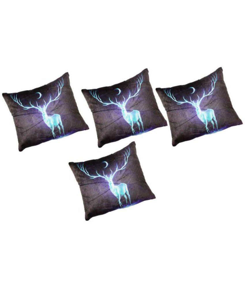 Ajit Set of 4 Velvet Cushion Covers 40X40 cm (16X16)