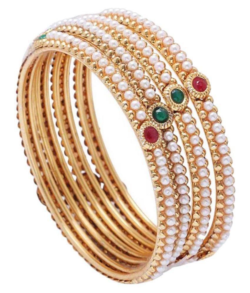 Jewels Gold Designer Gold Plated Antique Bangle Set - Pack Of 4