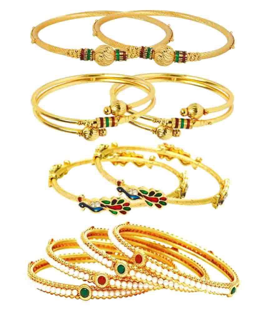 Jewels Gold Traditional Attractive Designer Modish Bangles Combo For Women & Girls