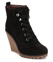 Delize Black Ankle Length Bootie Boots