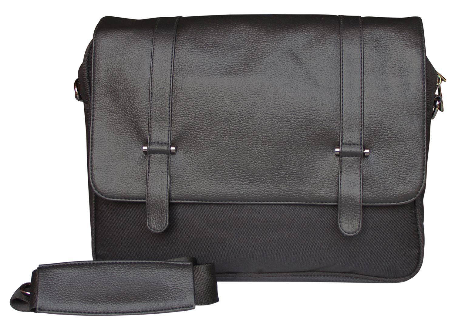 Mohawk Black Leather Office Messenger Bag