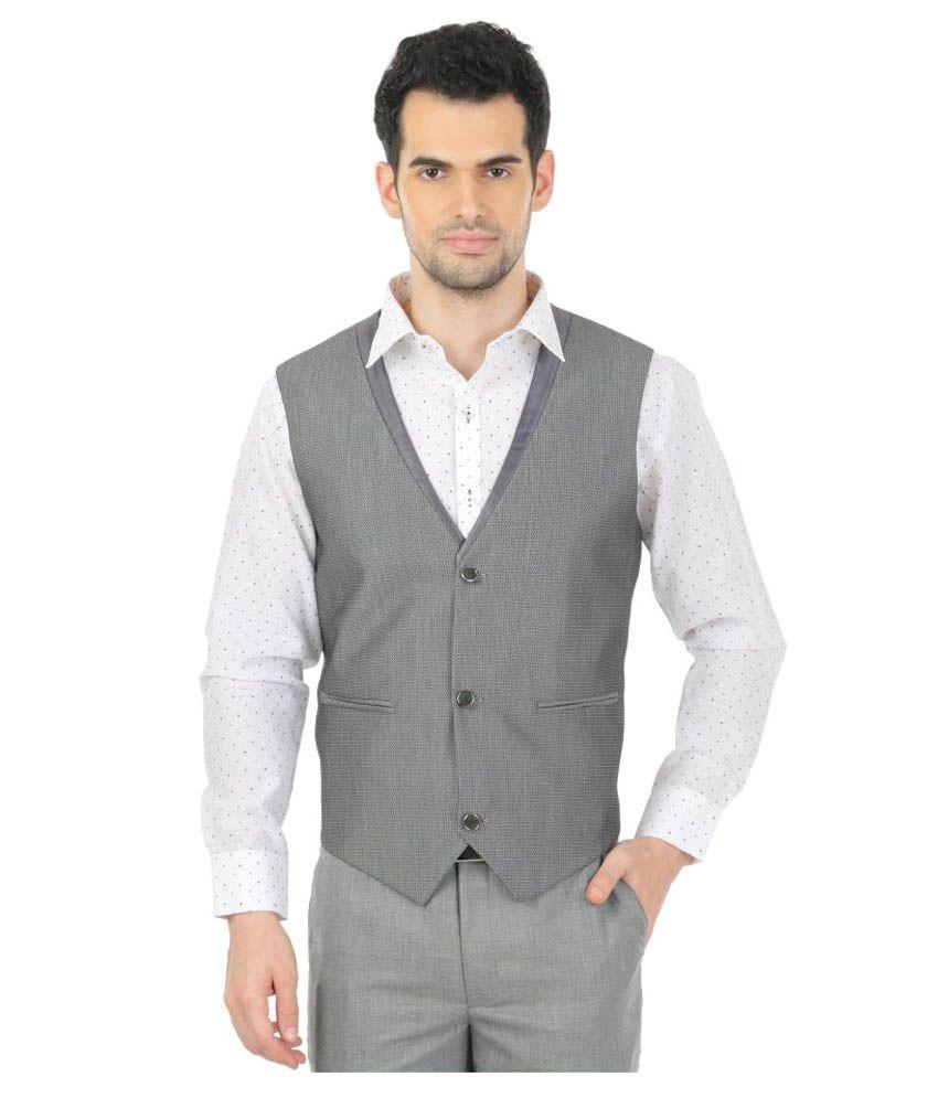 Zido Grey Printed Party Waistcoats